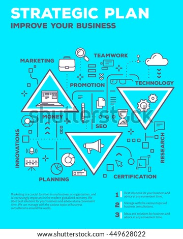 Vector creative concept illustration of graph business project with header, text on blue background. Planning composition poster template. Flat thin line art style design of business infographics - stock vector