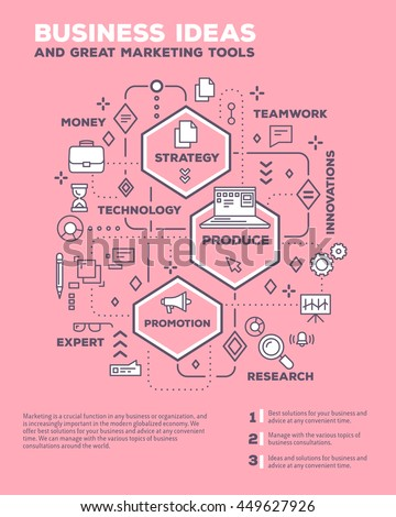 Vector creative concept illustration of graph business project with header, text on pink background. Business idea composition poster template. Flat thin line art style design of business infographics - stock vector