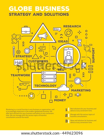 Vector creative concept illustration of graph business project with header, text on yellow background. Globe business poster template. Flat thin line art style design of business infographics - stock vector