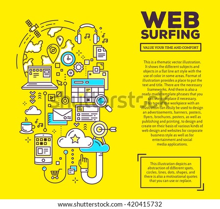Vector creative concept illustration of web surfing with header and text on yellow background. Web surfing composition template. Hand draw flat thin line art style design for web surfing theme - stock vector
