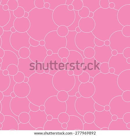 Vector creative hand-drawn abstract seamless of round elements in pale pink and crimson tones - stock vector