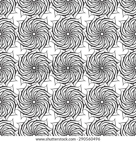 Vector creative hand-drawn abstract seamless pattern of stylized flowers in black and white colors