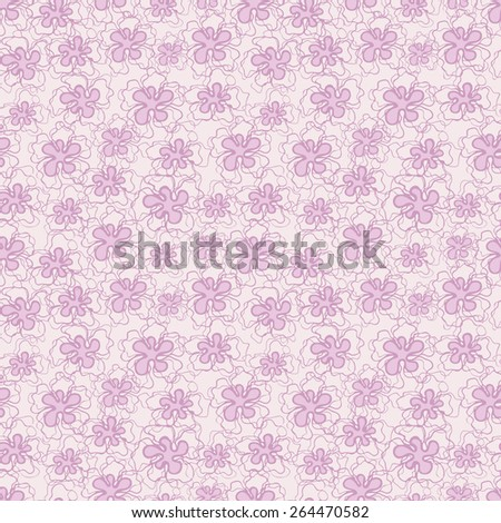 Vector creative hand-drawn abstract seamless pattern of stylized flowers in light pink tones - stock vector