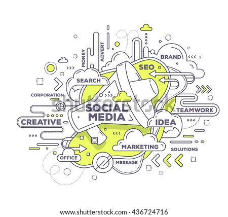 Vector creative illustration of communication with megaphone and tag cloud on white background. Social media technology concept. Hand draw thin line art style design with megaphone for social media - stock vector