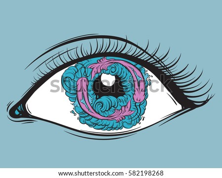 Vector Creative Illustration Of Eyes With Fish And Waves In Pupil Made Hand Drawn Style