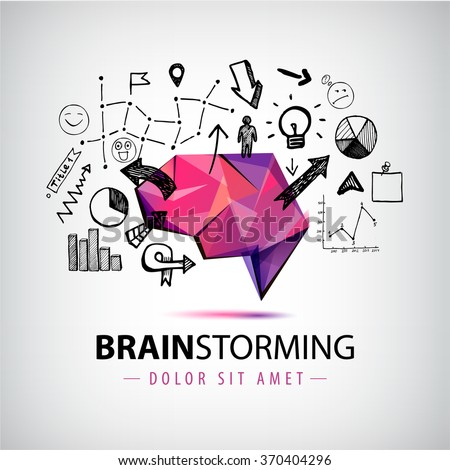 Vector creative logo, brainstorm logo, creating new ideas, teamwork illustration. Origami brain with hand drawn chart, arrows elements - stock vector