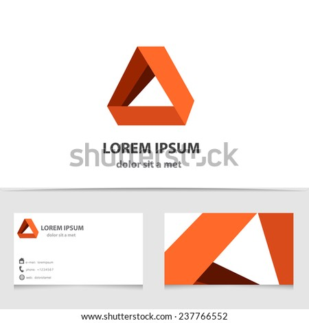 Vector creative logo for company with business card template. The unusual idea with triangle and ribbons. - stock vector