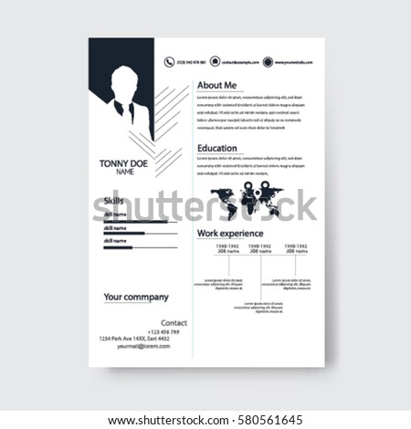 Vector Creative Minimalist Cv Resume Template .Solid And Clean Template .  Minimalist Resume Template