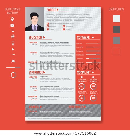 Vector Creative Minimalist Cv Resume Template Stock Vector 577116082 ...
