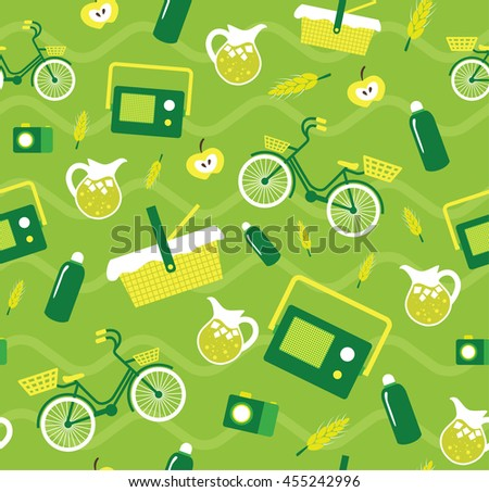 Vector creative seamless picnic pattern with elements bicycle, lemonade, picnic basket, jar - stock vector