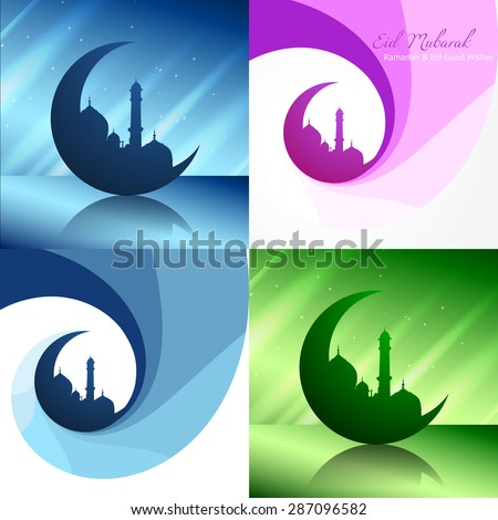 vector creative set of ramadan festival background with mosque illustration - stock vector