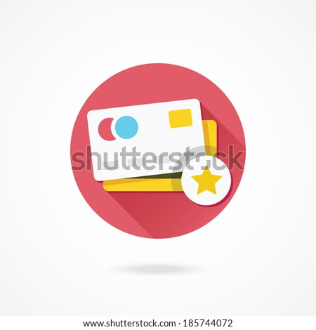 Vector Credit Card and Star Sign Icon - stock vector