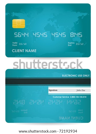 Vector credit card, front and back view - stock vector