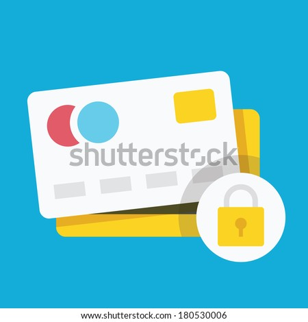 Vector Credit Card Protection Concept Icon - stock vector