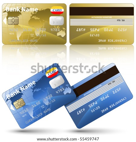 Vector credit cards, front and back view - stock vector
