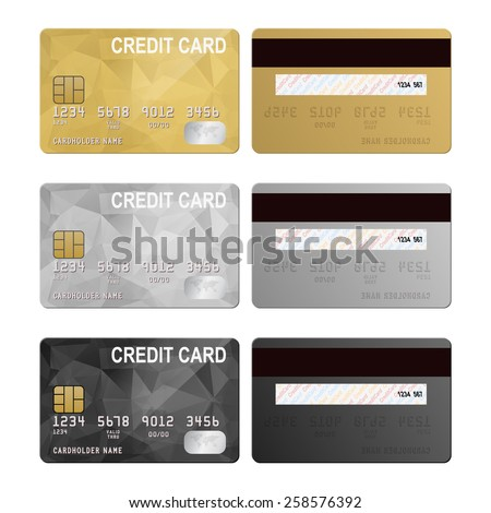 Vector credit cards, front and back view. Vector EPS10 illustration.  - stock vector