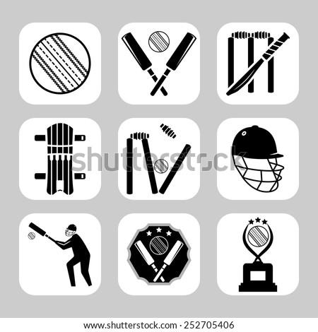 Vector cricket related icon set - stock vector