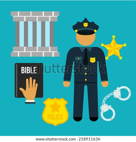 Vector crime and police man social flat icons set - stock vector