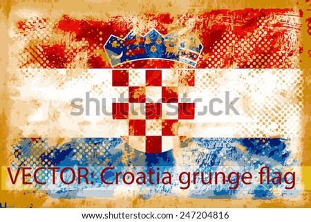 VECTOR: Croatia grunge flag on the vintage paper using  for background - stock vector