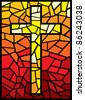 vector cross in stained glass style - stock photo