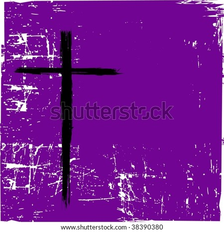Vector Cross On Purple Grunge - stock vector