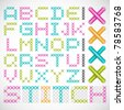 Vector Cross Stitched Fonts - stock vector