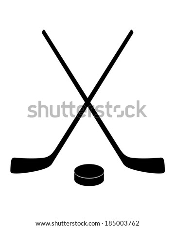 Vector crossed hockey sticks and puck icon set - stock vector