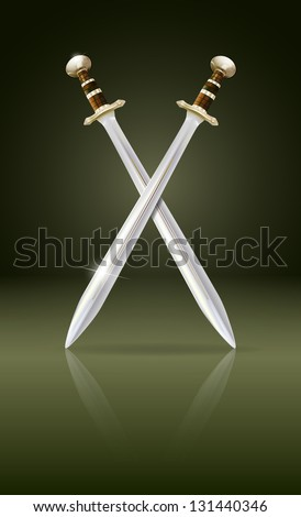 vector crossed swords with reflection, eps10 file, gradient mesh and transparency used, raster version available - stock vector