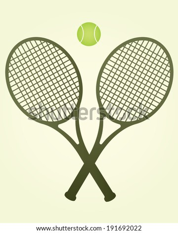 Vector Crossed Tennis Racket and Ball Set - stock vector