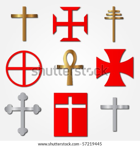 Vector Crosses Illustration - stock vector