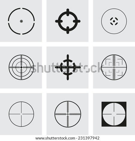 Vector crosshair icons set on grey background - stock vector