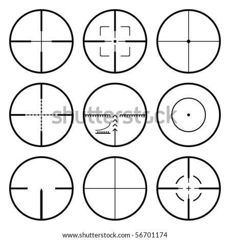 Vector crosshairs set. Each crosshair in separated layers. - stock vector
