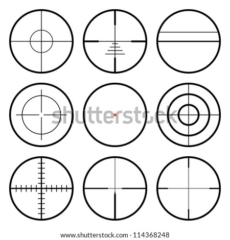 Vector crosshairs set. Each crosshair in seperated layers.