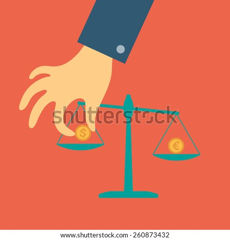 Vector crowdfunding concept in flat style - hand of a person puts a coin on the scales - stock vector