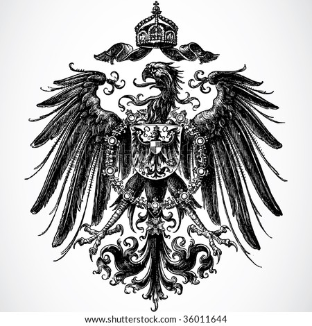 Vector Crown and Eagle Ornament - stock vector