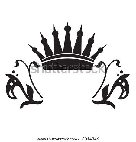 Vector crown frame with flourishes - stock vector