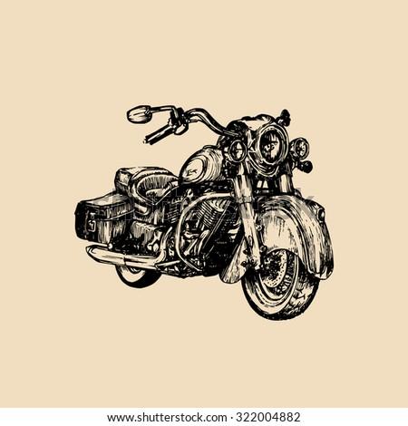 Vector cruiser motorcycle logo. Vector vintage cruiser motorcycle. Retro hand sketched motorcycle illustration. Motorbike. Custom motorcycle illustration. - stock vector