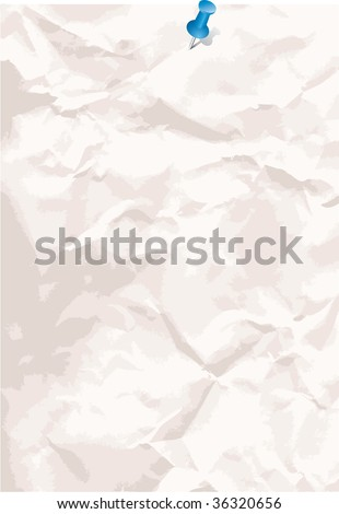 vector crumpled paper background with pin