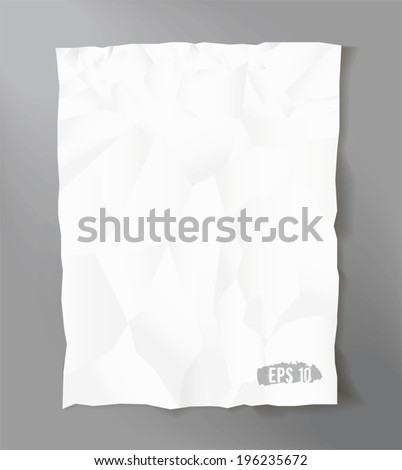 Vector crumpled paper sheet. - stock vector