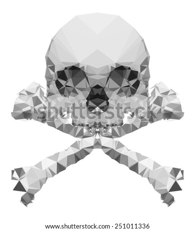 vector crystal skull on white background / Human skull front view made with triangles-Vector design / Conceptual human skull-Vector illustration / T-shirt Graphics - stock vector