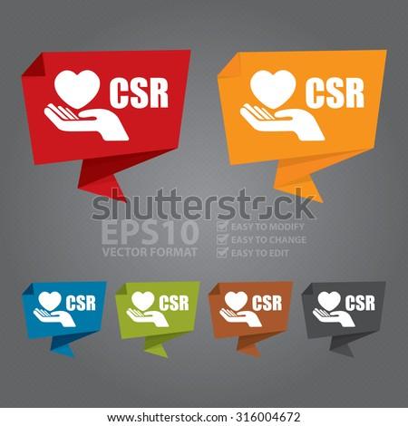 Vector : CSR Paper Origami Speech Bubble or Speech Balloon Infographics Sticker, Label, Sign or Icon - stock vector