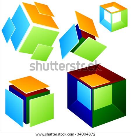 Vector cube elements. Set 2. - stock vector