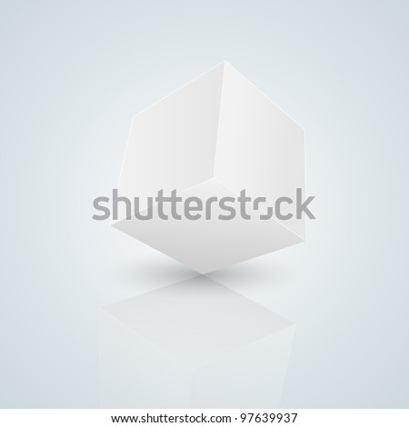 Vector cube isolated on blue - stock vector