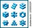 vector cube logos - stock vector
