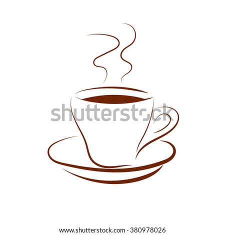 Vector cup coffee on a white background