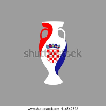 Vector cup isolated on grey background. Croatia national state flag colors.First 1st place in sport competition trophy symbol. Championship winner prize icon sign. Flat style. Graphic object clip art - stock vector