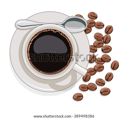 vector cup of black coffee and scattered coffee beans - stock vector
