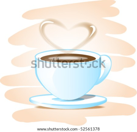 vector cup of coffee with heart