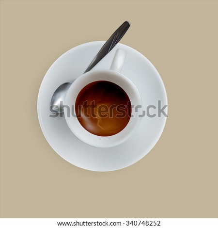 vector cup of espresso coffee, top view, saucer, spoon - stock vector