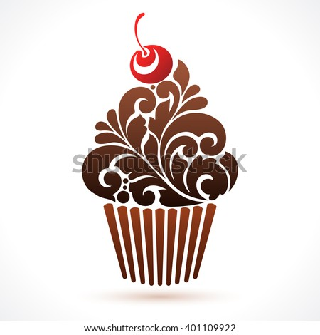 Vector cupcake icon logo Abstract cupcake illustration. Ornamental pattern chocolate cupcake with cherry isolated on white background - stock vector